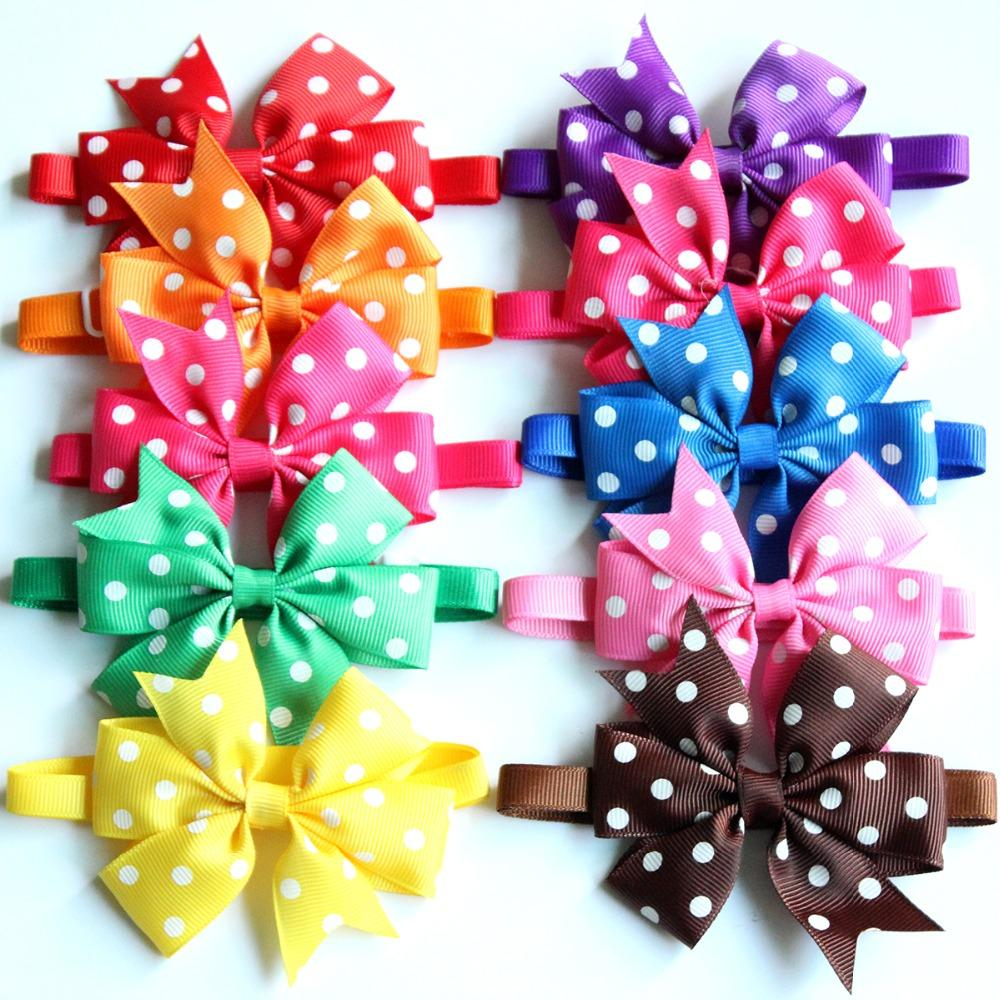 1pcs 9colour Pet Dog Bowties Dot style large bows Bow tie Dog neckties  collar accersoriess