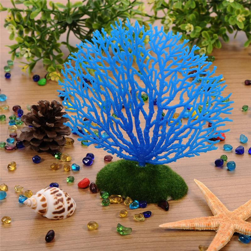 Pcs aquarium decorations silicone resin fake coral fish