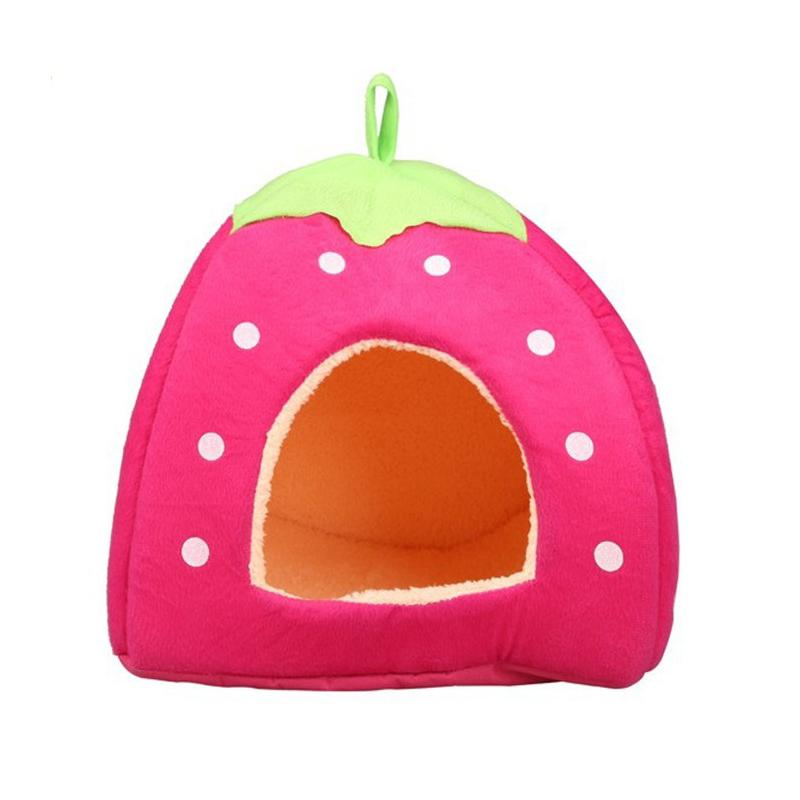 1pcs Colorful Cat Dog House Foldable Strawberry Bed House Dog Dog House Nest Cute Pet Cat Dog Kennel