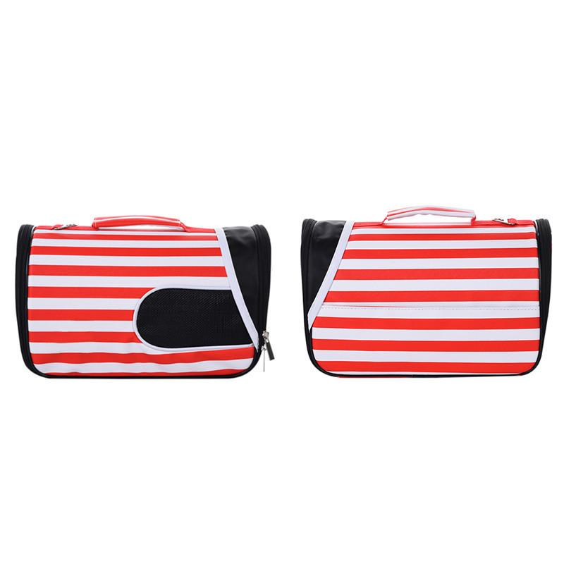 1pcs Fashionable Breathable Carry-handle Bag Sunshade House Pet Carrier Red Striped Single Shoulder Bag for Pet Carrying