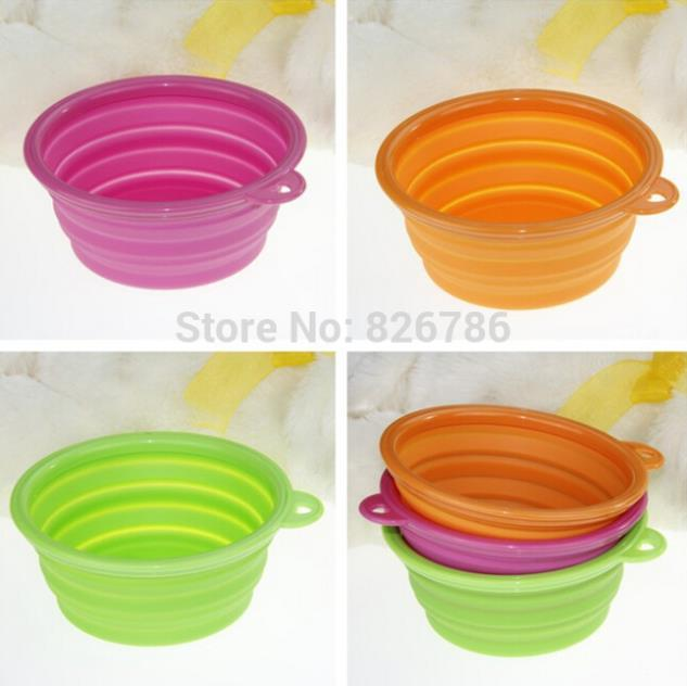 1pcs Foldable Portable Dog Bowl Cute Portable Silicone Collapsible Folding Pet Bowl Travel Cat Pet Bowl Feeding Water Food