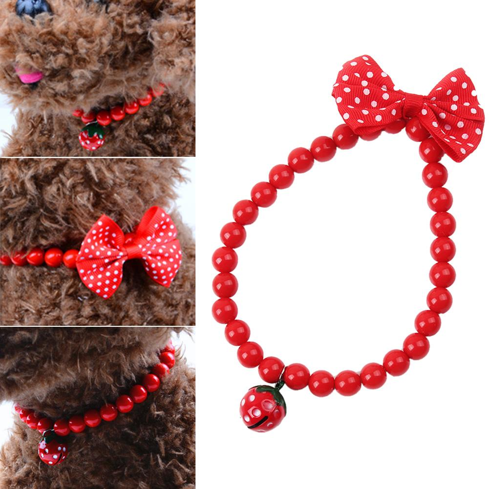1pcs Pet Dog Cat Jewelry Beads Necklace Strawberry Bell Bow Bowknot Decoration Red Acrylic Collar Pet Products Dog Supplies
