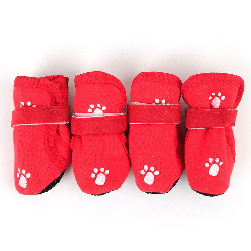 1set/4pcs Indoor Casual Pet Shoes Soft Warm Cotton Dog Boots Paws Protector Dog Puppy Shoes with Anti Slip Sole Adjustable Strap