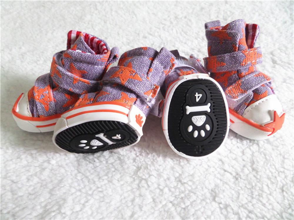 1set/lot Fashion Pet Dog Shoes Cute Puppy Boots Outdoor Casual Canvas  Teddy Small Dogs Shoes