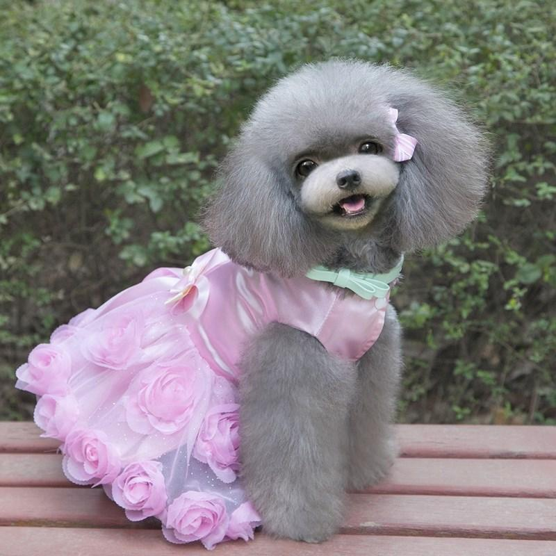 2 Colors Pet Dogs Lace Princess Dress Tutu Puppy Clothes Party Favor Outfits Rose Flower Bowknot Decorated Jacket Dresses