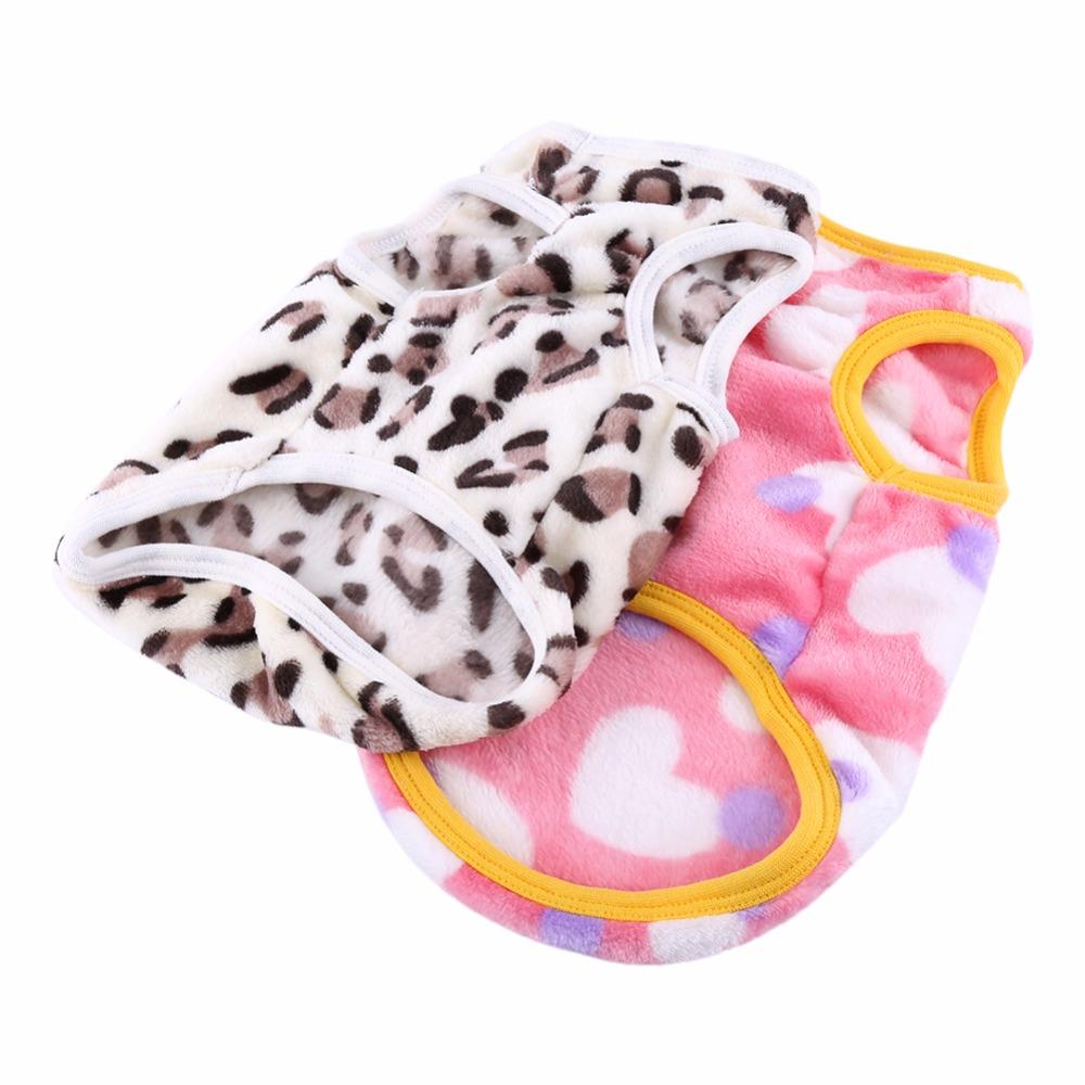 2 Colors Pink Heart White Leopard Lovely Pattern Winter Fall Warm Coral Fleece Cat Dog Pet Vest Clothes Apparel Costumes Cloth