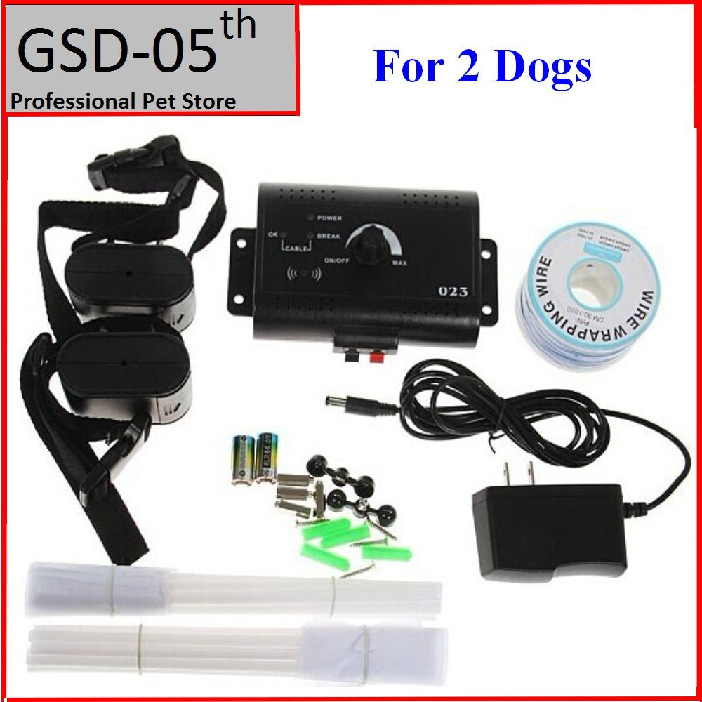 2 Dogs Underground Electric Dog Pet Fencing System In-Ground Electric Dog Fence Shock Collar Dog Training Trainer Collar