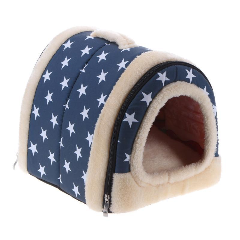 2 In 1 Foldable Pets Beds Nest House Winter Warm Dog House with Mat Portable Travel Cat Sleeping Bed Puppy Hamster Pad S/M/L