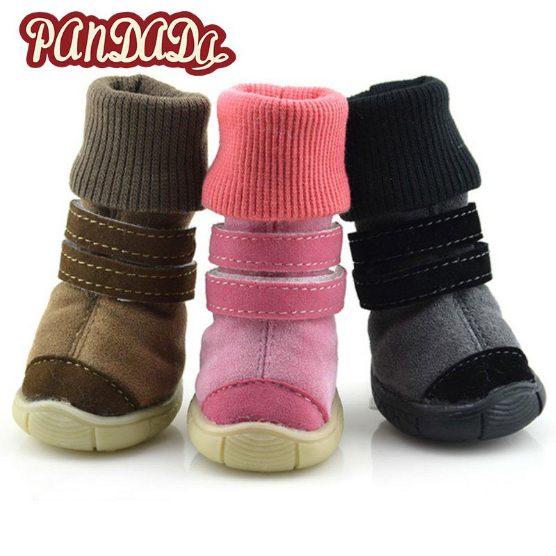 2 Pairs/Sets  Winter Anti-slip Cotton Soft Pet Shoes Leather Cashmere Waterproof Warm Booties Boots