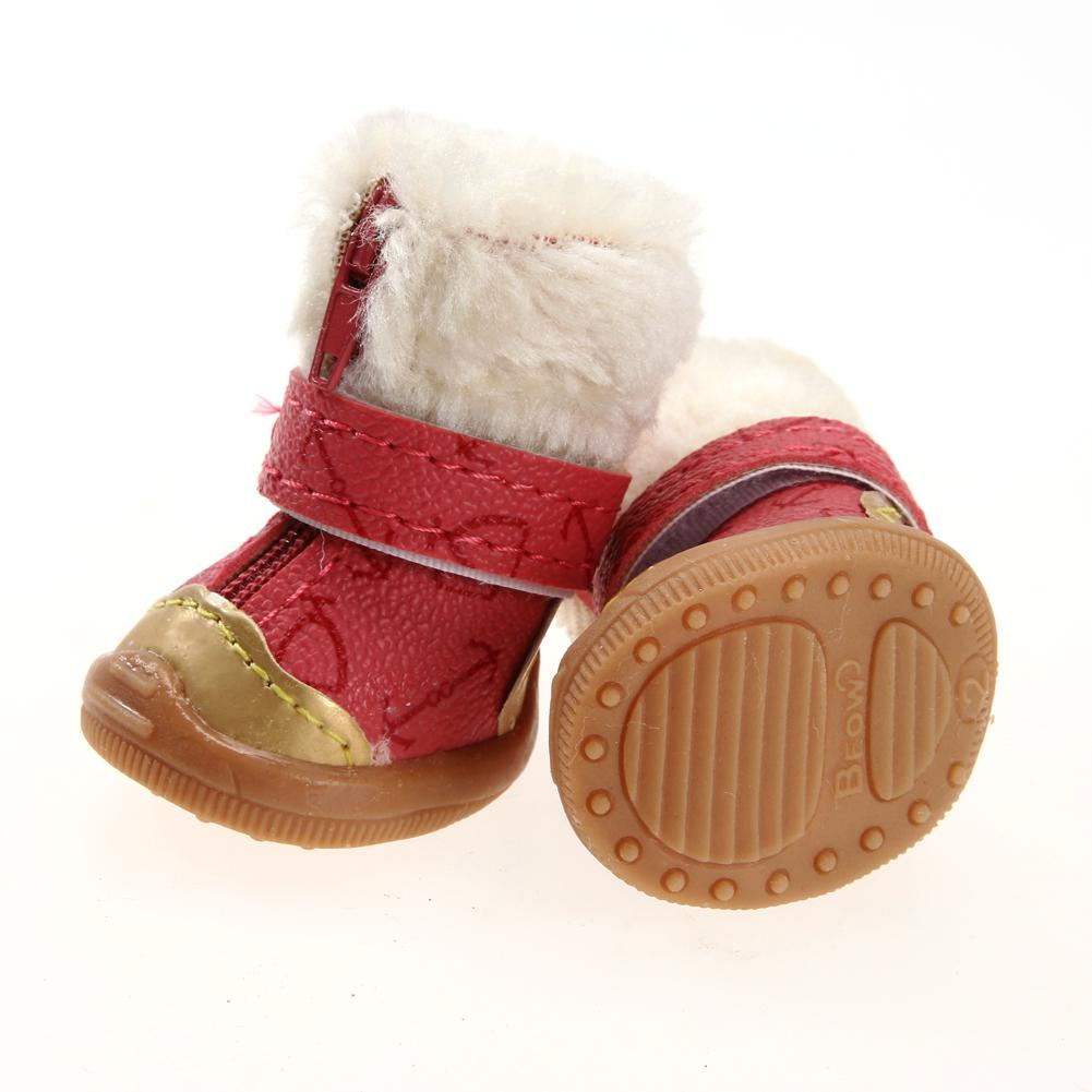 2 Pairs XS/S/M/L/XL Warm Pet Dog Waterproof Shoes Winter Snow Boots PU leather and Cotton Anti Slip Shoes for Small Pet Rose Red