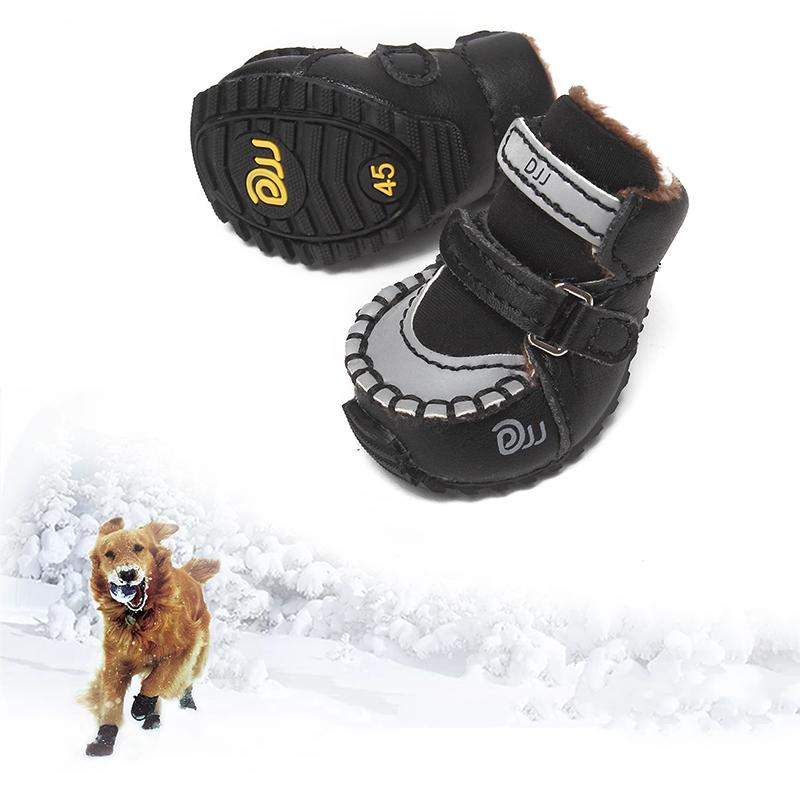 2 Pcs /set Dog Shoes Winter Warm Waterproof Breathable Non-slip Shockproof Pet Paw Protector Durable Reflective Dog Snow Boots