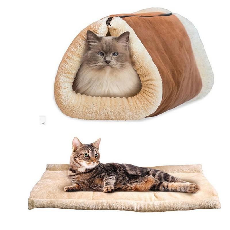 2 Uses Cute Cat Sleeping Bag Warm Pet Beds For Small Cats Dogs House Lovely Soft Pets Mat Cushion Cat tunnel Pet Products Pd313