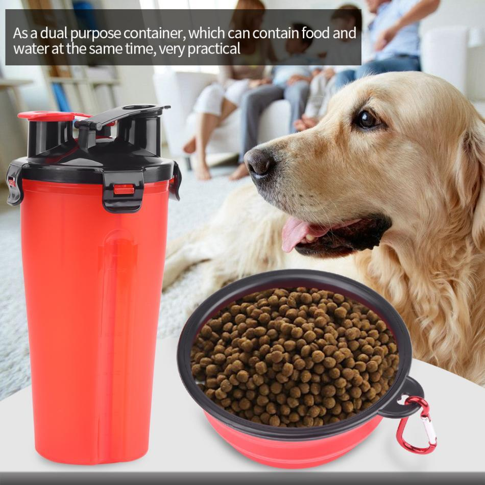 2 in 1 Dog Drinking Water Bottle with Bowl Pet Outdoor Water Cup Food Container Bottle for Pet Dog