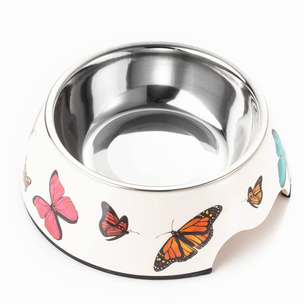 2 in 1 Melamine Plastic Stainless Steel Dog Bowl Pet Dinner Dish Dog Feeder In Various Size And Color