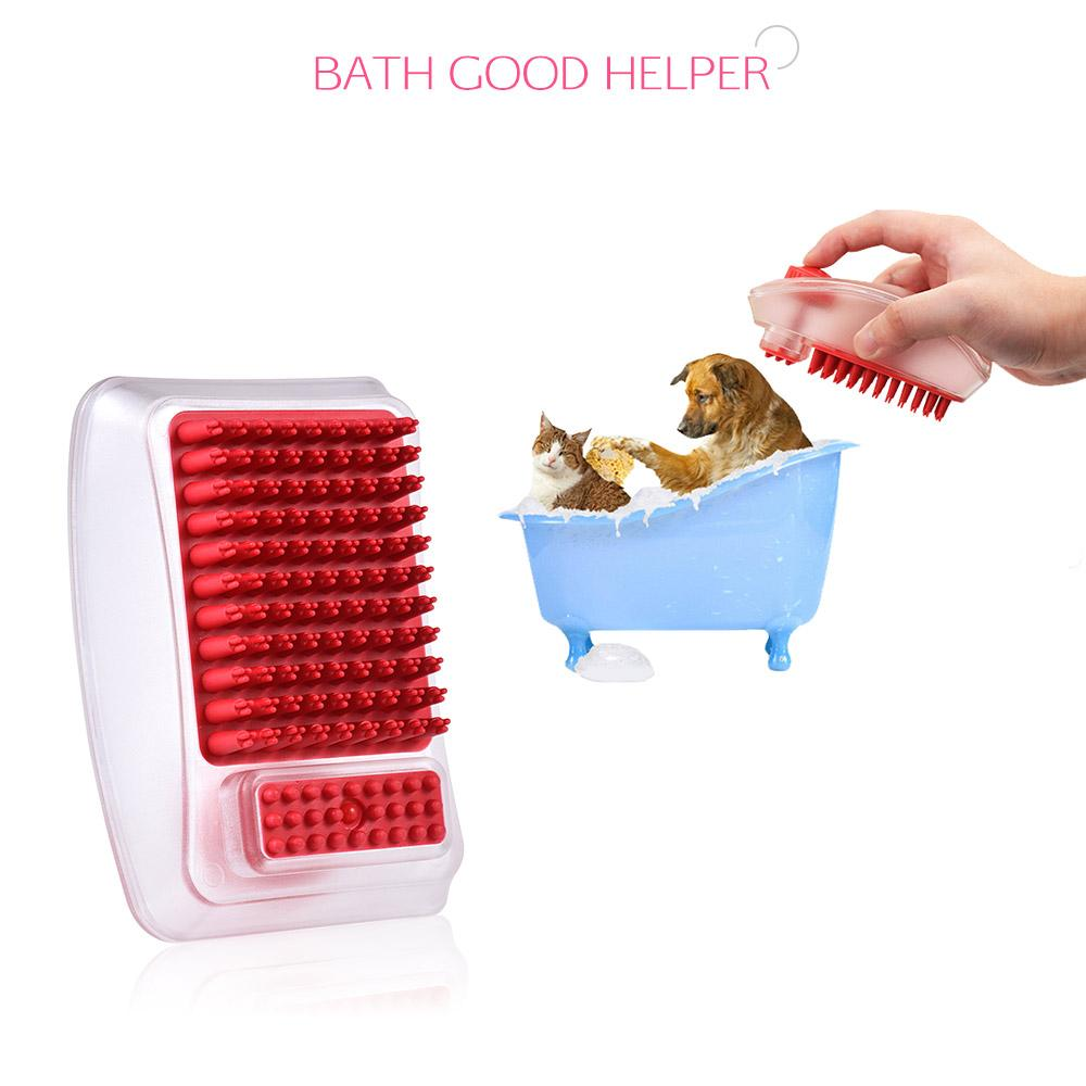 2 in 1 Pet Bathing Brush Shampoo Dispenser Cleaning Massage Brush Bath Comb Dog Hair Shedding Hair Grooming Supplies for Dog Cat