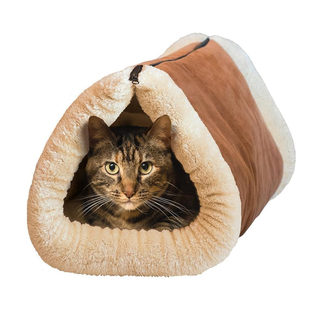2-in-1 Pet Bed Snooze Tunnel and Mat for Pet Winter Warm Cat Dog Blanket Portable Cat Dog House for Travel or Home WA990 T20