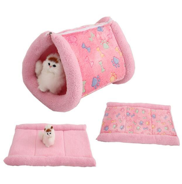 2 in 1 Pet Cat Bed Puppy House Soft Fleece Dog Bed Blankets Fall and Winter Warm Nest Kennel Chihuahua Cat Mats Sleeping Bag