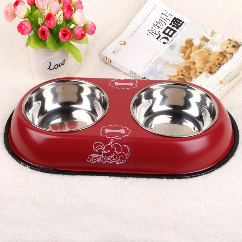 2 in 1 Pet Dog Food Bowl Puppy Travel Feeder Water Dish Stainless Steel Large Dog Drinking Bowl Bottle Pet Products 25S2