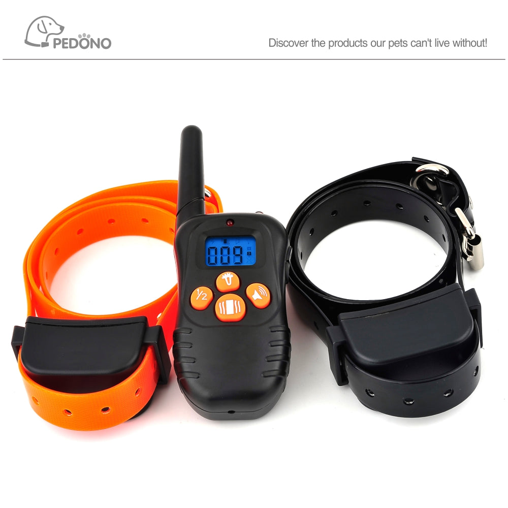 2 in 1Pet trainer remote dog collar rechargeable no bark control terminator dog training collar waterproof for 2 dogs 300M
