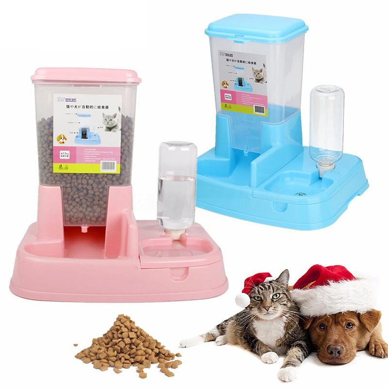 2 in1 Pet Cat Dog Automatic Water Drinker Dispenser Food Feeder Dish Bowl Bottle #261571