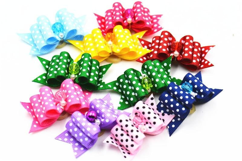 20/50/100pcs /set Pet dog Cat bow tie cute dot pattern dog bow in hair grooming hair accessories puppy hair bows with Rhinestone