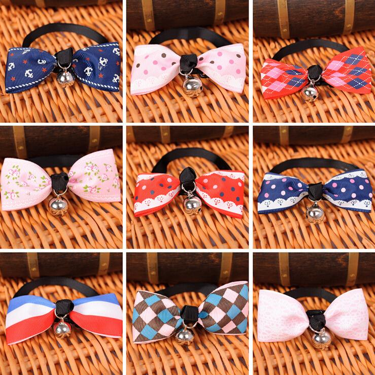20 pcs/lot Hot Sales Multi Colors Lovely Bow Cats Dog Tie Dogs Bowtie Collar Pet Supplies Bell Necktie Adjustable Dog Tie Collar