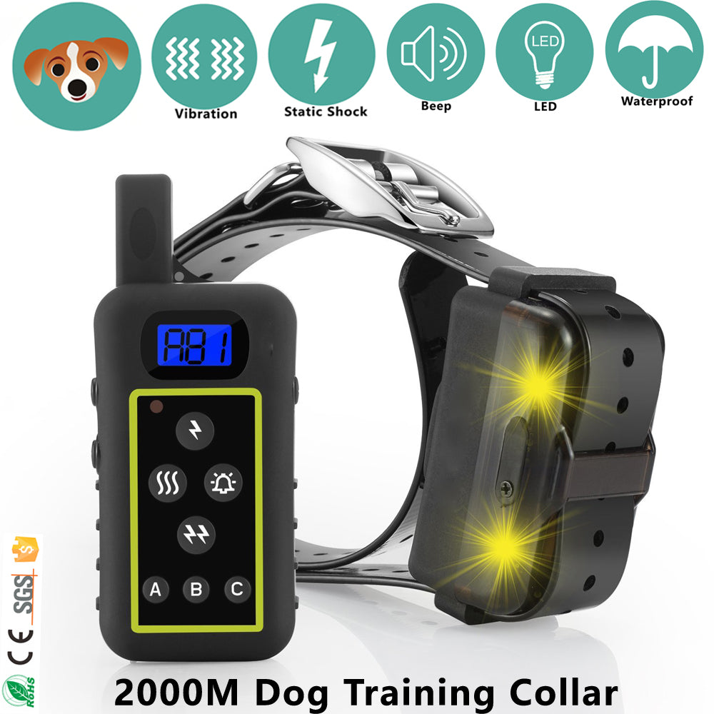 2000M LED Shock Vibra Remote Dog Training Collar for 3 dogs