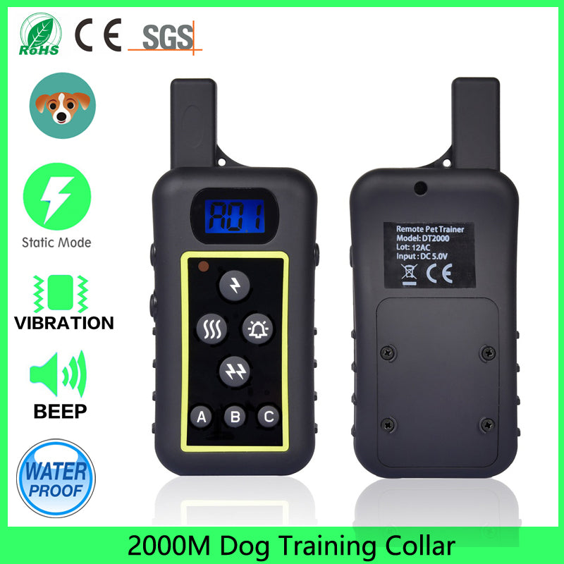 2000M Rechargeable And Waterproof Shock Vibra Beep LCD Electric Dog Training Collar