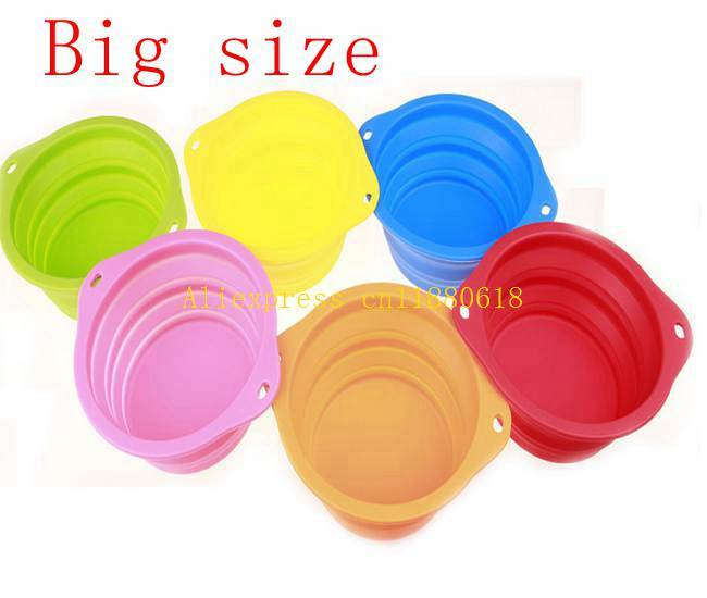 200pcs/lot 193x67mm Big size Pet bowls silicone Bowl folding portable dog bowls For food the dog drinking water bowl