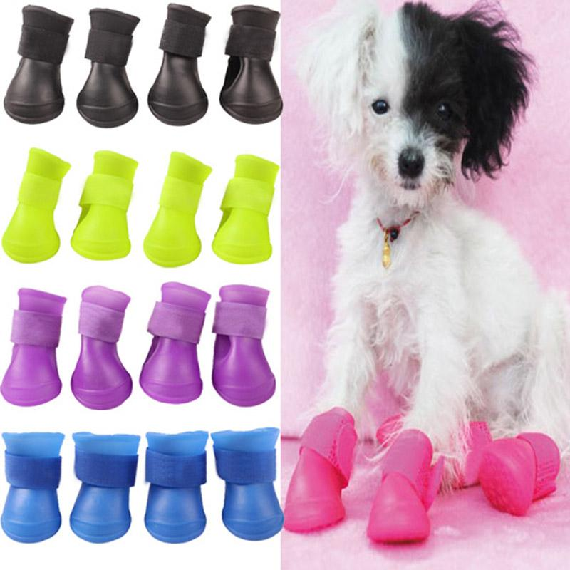 2014 2 pairs Cute Pet Dog Waterproof Boots Protective Rubber Rain Shoes Candy Color  Christmas gift free and drop shipping