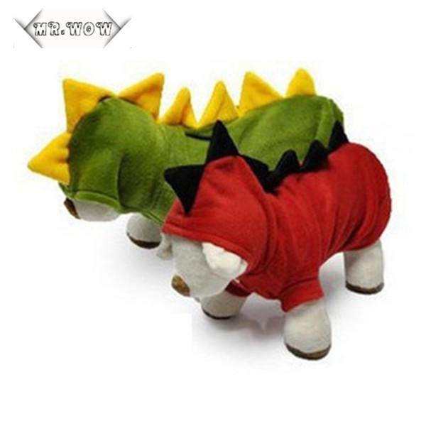 2015 Dog Clothes Pet Dogs Puppy Cat Dinosaur Pretty Hoodie Dress Up Clothes Apparel Dog Coat Free Shipping
