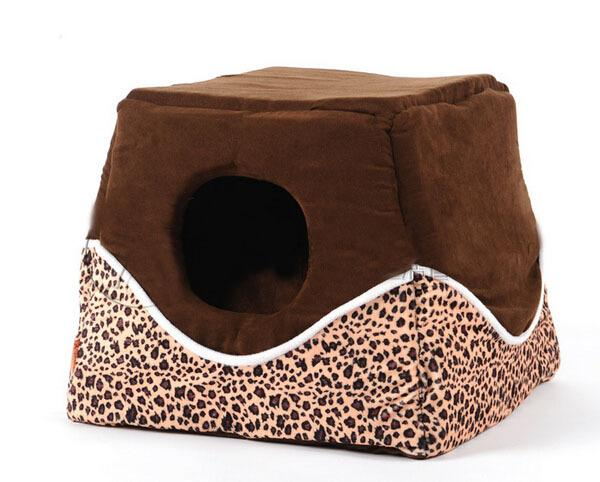 2015 new pet dog cat fashion Leopard house doggy warm soft bed puppy autumn winter nest dogs cats kennels 1pcs pets supplies