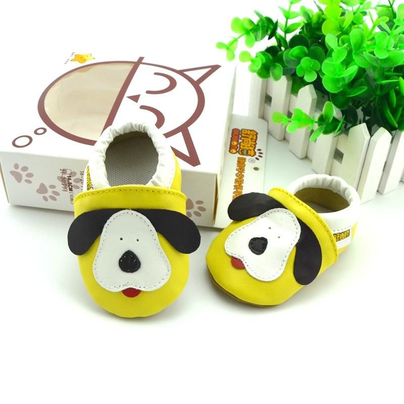 2016 Cute Cartoon Shoes for Kids Fashion Soft Leather First Walkers Dog I Love Mom Butterfly Baby Shoes