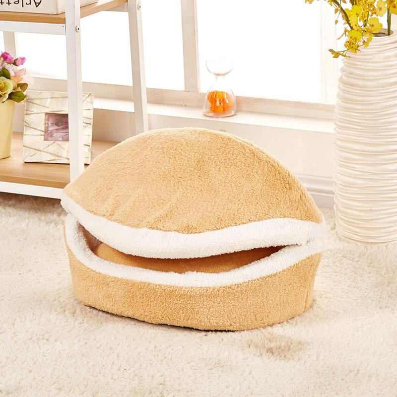 2016 Cute Hamburger Shape Dog Beds Cama Para Cachorro fleece Soft Dog House Pet Products For Small Dogs Cats Puppy Dog Kennel
