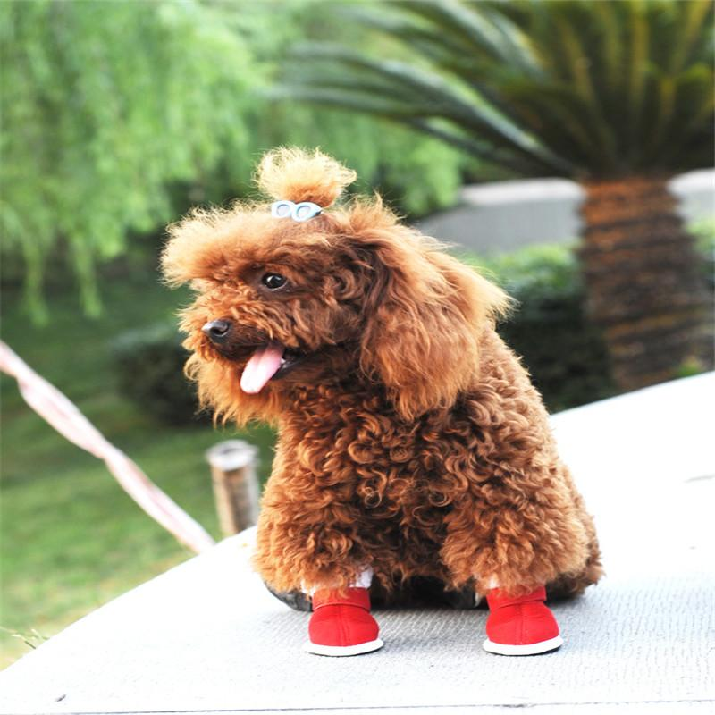 2016 Dog Winter Section Of cotton Shoes Suede + Cotton + Velvet Thickening Pet Shoes Red Teddy Shoes Size 5 Yards Optional