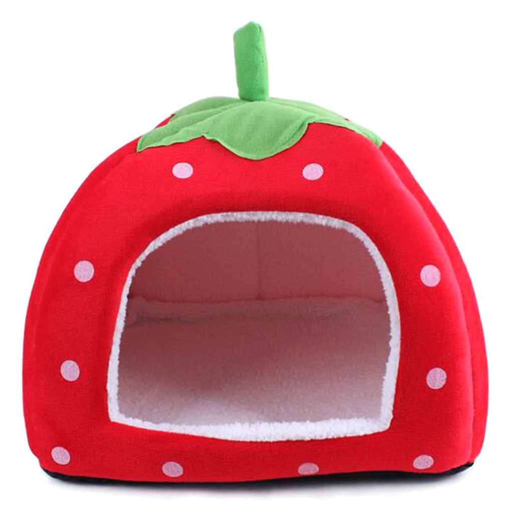 2016 Foldable Soft Warm Strawberry Cave Dog Bed Cheap Leopard Print Cute Pet House Kennel Nest Dog Fleece Cat Tent Bed