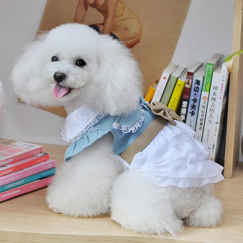 2016 High Quality Fairy Denim Dog Dress for Dog Clothes Charming Cozy Dog Shirt Pet Dress