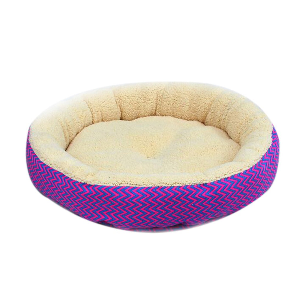 2016 Hot Sale 2 Colors Round Soft Dog House Bed Striped Pet Cat And Dog Bed Grey /Red-Blue Size S M Pet Products