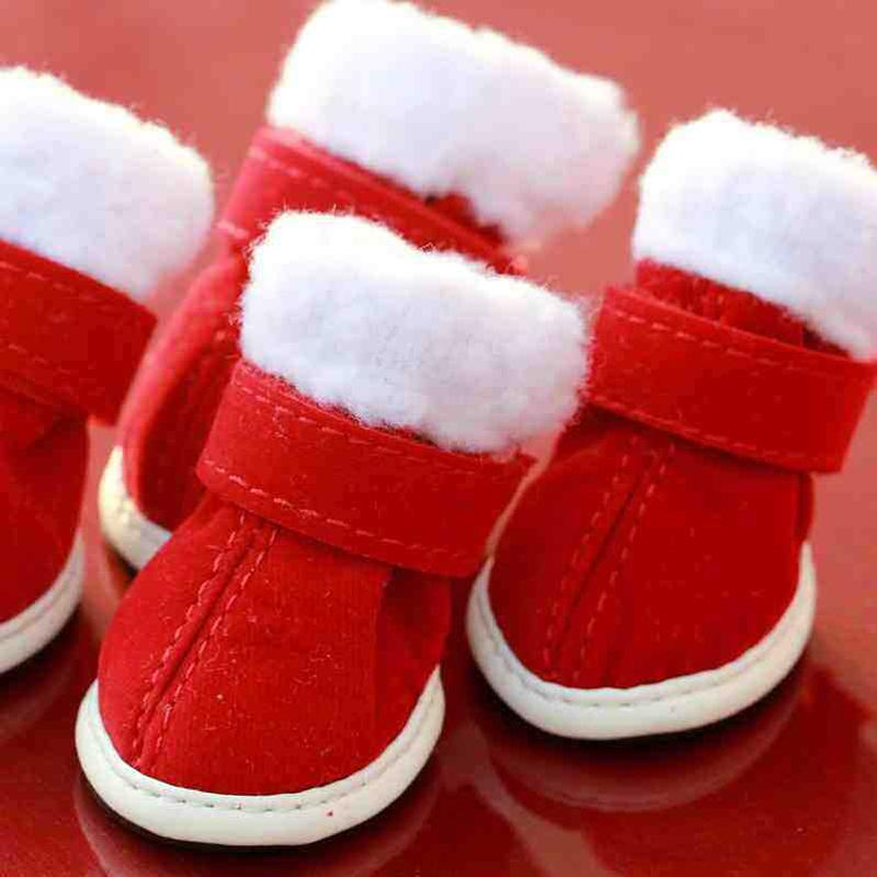 2016 NEW Pet Dog Cotton-padded Shoes Winter Fleece Warm Shoes Booties Pet Princess and Prince Crystal Shoes PT145