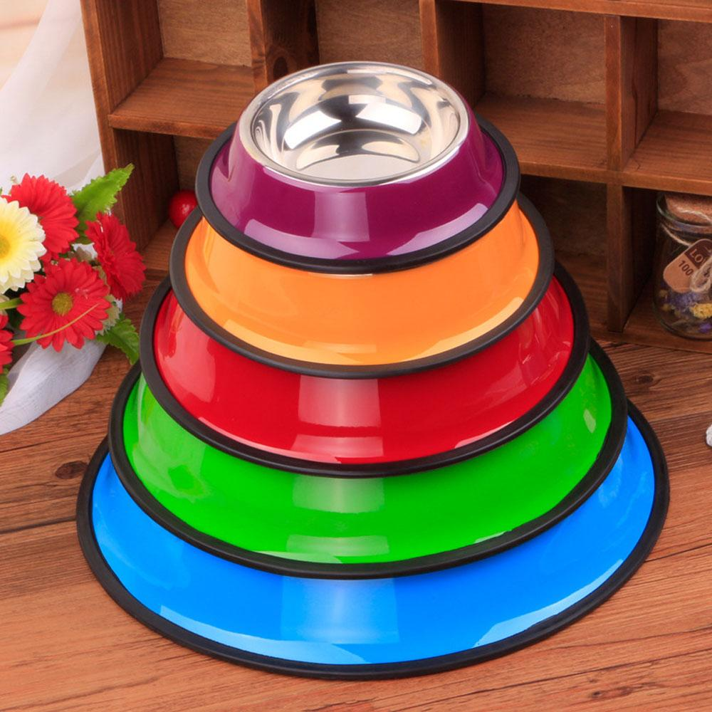 2016 New Arrival 5pcs/lot 5 Color Send At Random S Size Stainless Steel Dogs Food Bowls Pets Supplies