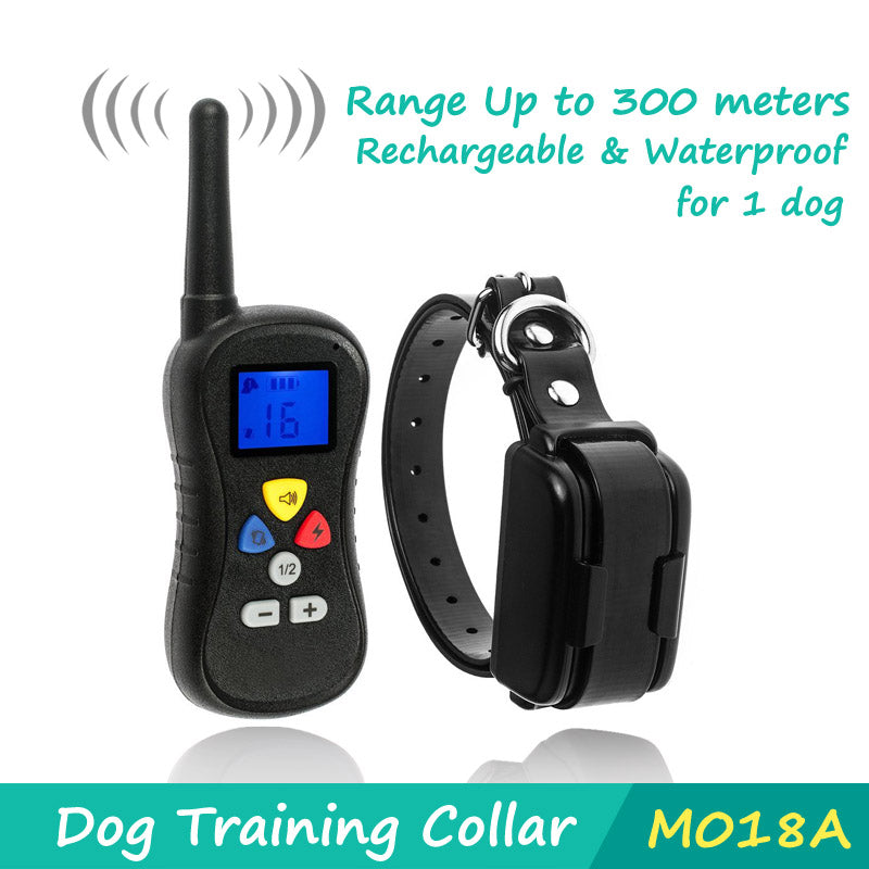2016 New Dog Trainer 300M Waterproof Rechargeable LCD Remote Pet Dog Training Collar Electric Shock Large Dog Control