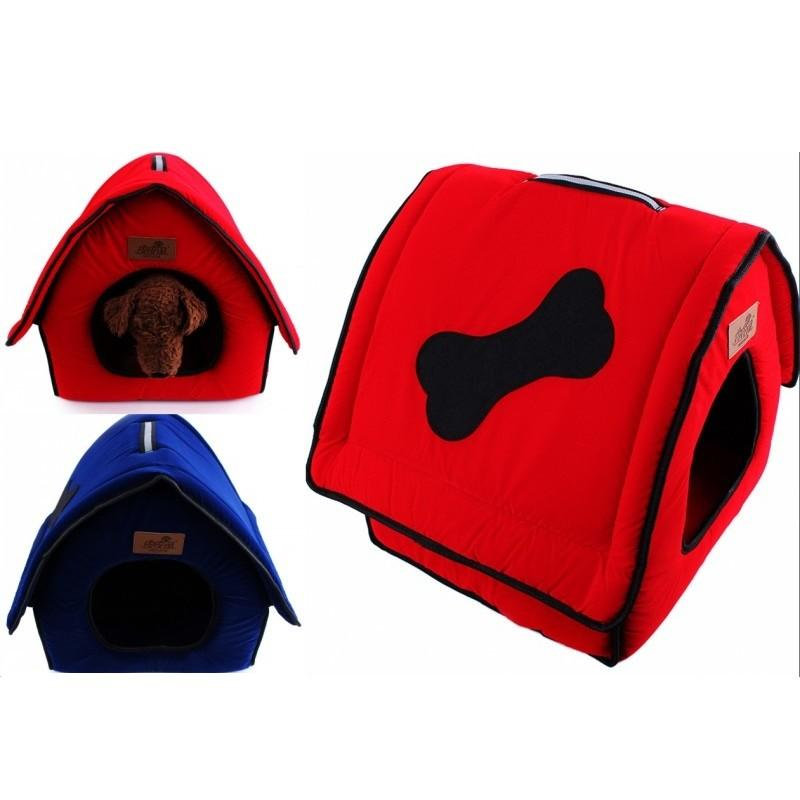 2016 New Flocking Cloth Pet Bed Kennel Cute Bone Dog House Waterloo Red Blue Pet Furniture Size 41*37*42CM Free Shipping