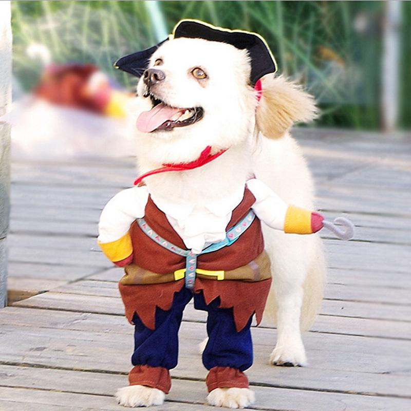 2016 New Pet Dog Clothes Apparel Caribbean Pirate Dog Costume Corsair Dressing Up Party Clothes for Dogs Hat & Cloak GI874285