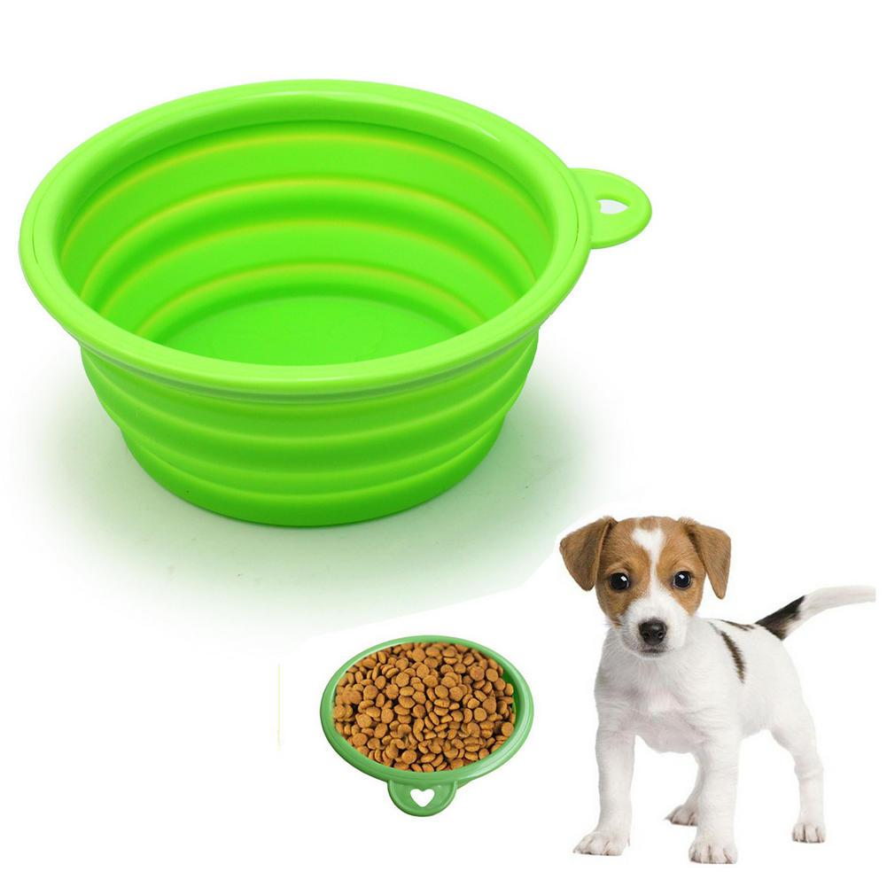 2016 New Pets Dog Cat Puppy Portable Green Silicone Foldable Collapsible Travel Bowl Dish Water Food Feeding Supplies