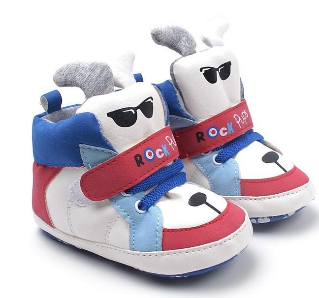 2016 Special Offer Cartoon Red and blue mixed colors Baby Girl Shoes Winter Cute puppy Boots Unisex Baby Clothes