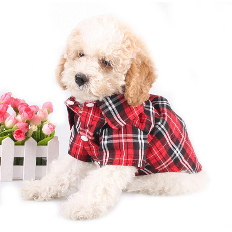 2016 Spring/Summer Fashion Dog Plaid Shirts Vests Casual Cotton Pet Dogs Clothes 3 Colors Cool Lapel T Shirt For Puppy Cats Tops
