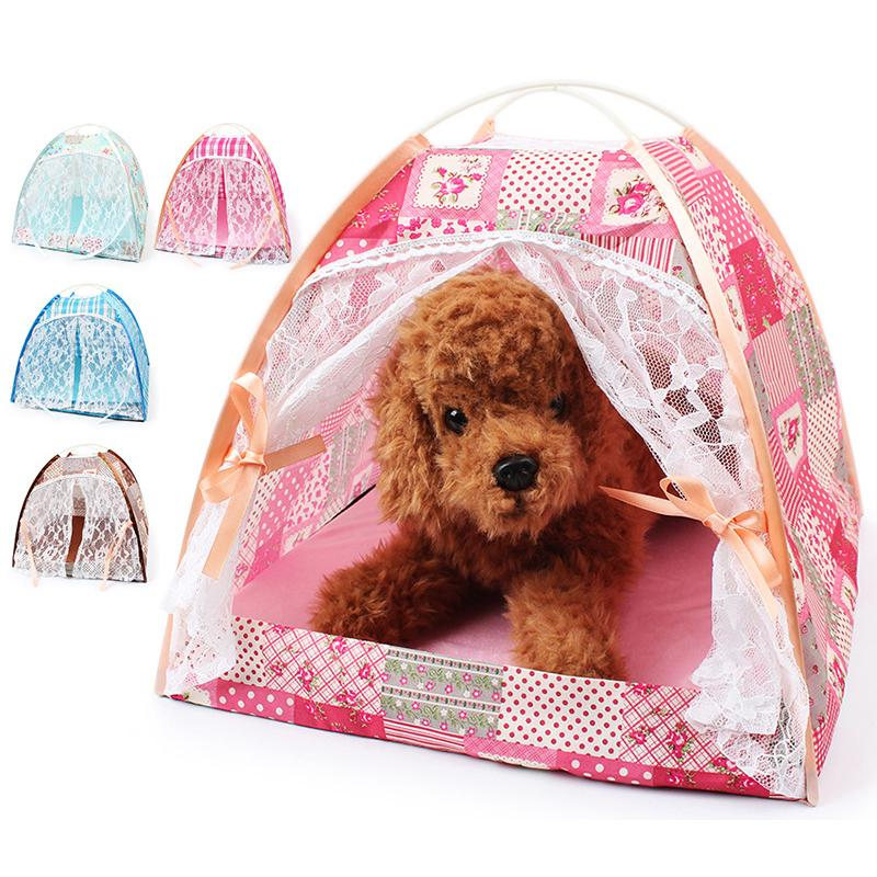 2016 Summer Outdoor Pet Camping Kennel Kitten Cat Fordable Beds Cute Lace Plaid & Printed Tent For Small Puppy Dogs Play House
