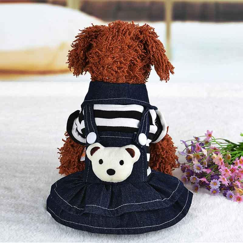 2016 Winter Warm New Dog Dress for Dog Clothes High Quality Jean Pet Clothes Fashion Striped Dogs Pet Princess Dresses Black Red