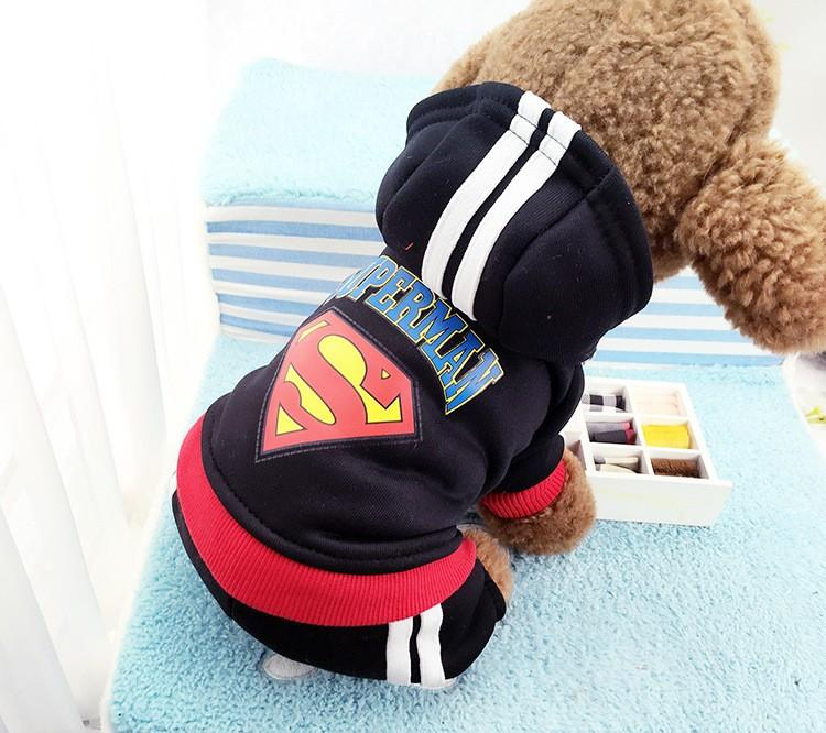 2016 hotsale 4 legs Dog clothes,pets coats,puppy dog hoodie Superman /Bat winter clothes sweater costumes size XS -XXL 9 colors