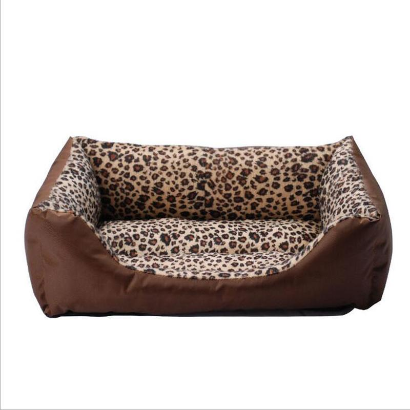 2016 latest design high quality square dog house leopard print puppy pet kennel cat dogs beds S/M/L sizes soft Nest